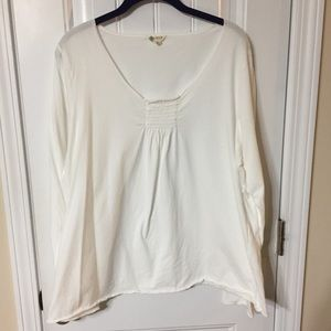 IZOD White Cotton Top Smocked Neckline, XXL
